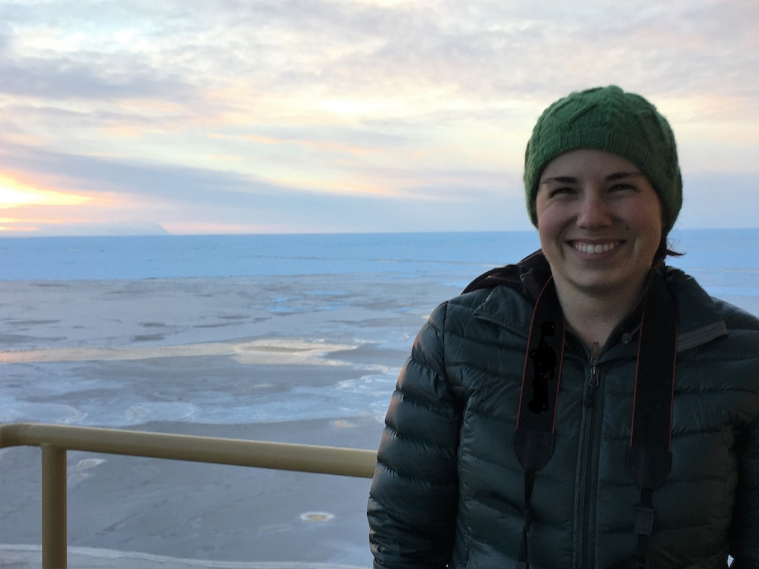 Julie Parno conducts research aboard the icebreaker, Nathaniel B. Palmer, while participating in the U.S. Antarctic Program Polynyas and Ice Production in the Ross Sea, a two-month science cruise.