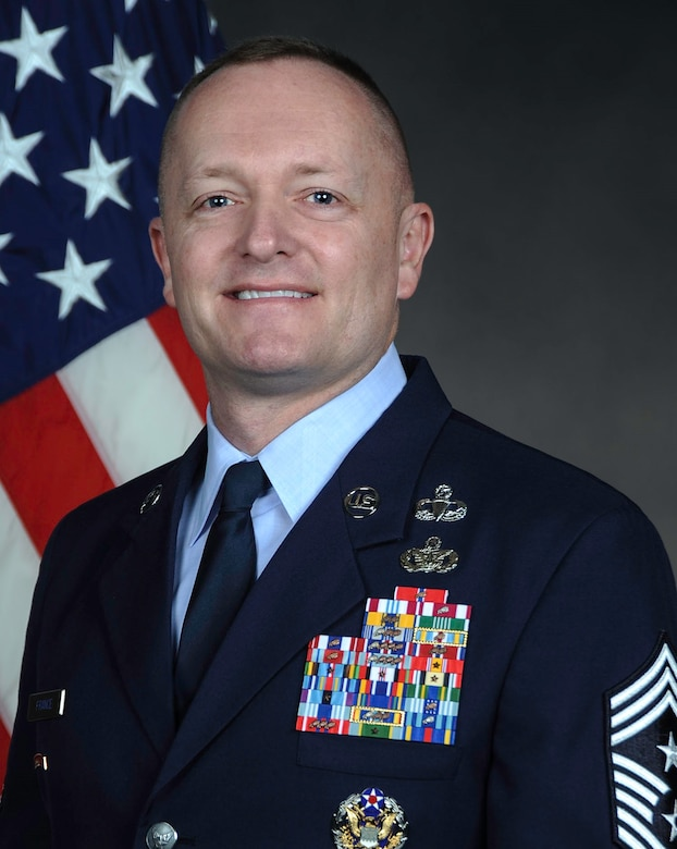 Official photo of Chief Master Jason L. France, AFMC Command Chief