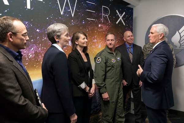 The Air Force opened its new innovation hub and startup center in Las Vegas with the goal to incubate a new approach to solving national security problems, Jan 11, 2017. Vice President Mike Pence, right, presided over the opening ceremony. Courtesy photo