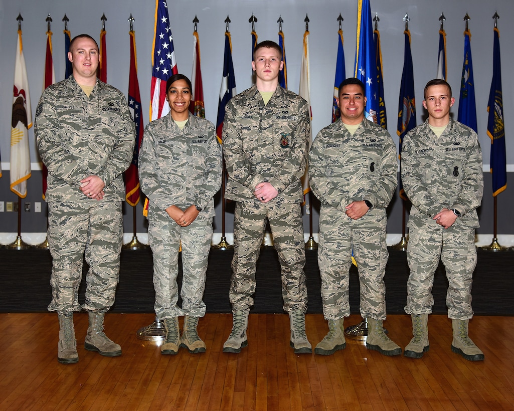 Five members of Team BLAZE were promoted to their next ranks Dec. 28, 2017 at the December Enlisted Promotion Ceremony on Columbus Air Force Base, Mississippi. Airmen in the U.S. Air Force have to work hard and diligently to earn their next rank and when they do, they are held to a higher standard than their previous rank. (U.S. Air Force photo by Sharon Ybarra)