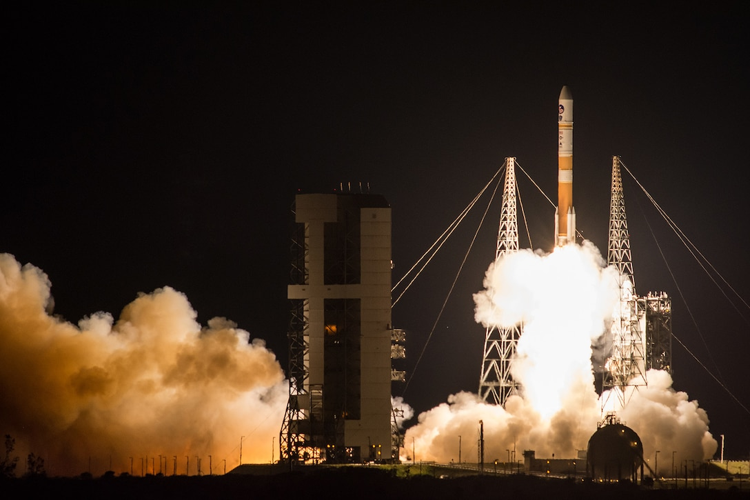 The Air Force successfully launched the ninth Boeing-built Wideband Global SATCOM satellite aboard a United Launch Alliance Delta IV Evolved Expendable Launch Vehicle from Space Launch Complex 37B, Cape Canaveral Air Force Station, Fla., March 18, 2017. WGS satellites play an integral part in the strategic and tactical coordination of military operations. With this launch, WGS-9 will significantly enhance the current WGS constellation by providing increased communication capacity and coverage. (Courtesy photo by United Launch Alliance)