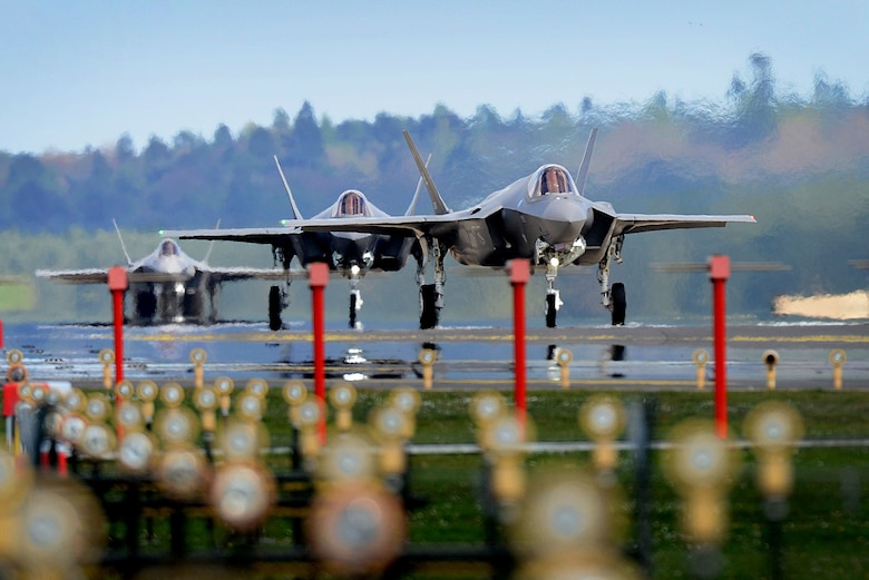F-35A Lightning II's from the 34th Fighter Squadron at Hill Air Force Base, Utah, land at Royal Air Force Lakenheath, England, April 15, 2017. The aircraft arrival marks the first F-35A fighter training deployment to the U.S. European Command area of responsibility or any overseas location as a flying training deployment. (U.S. Air Force photo by Tech. Sgt. Matthew Plew)