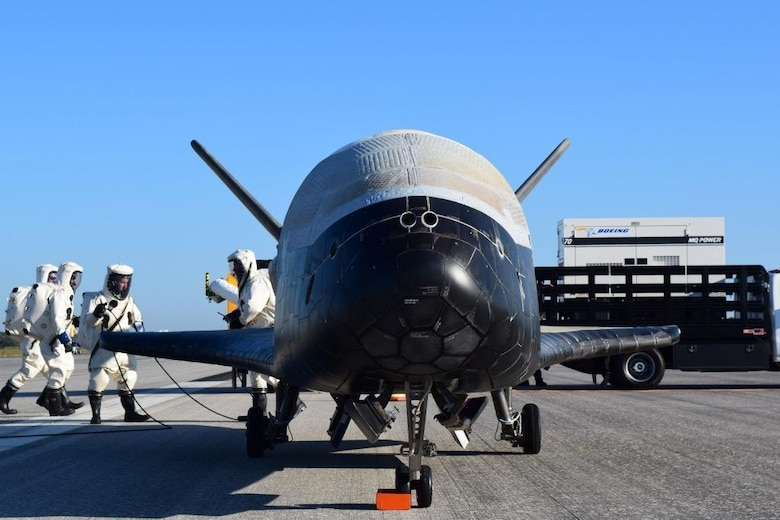 The U.S. Air Force's X-37B Orbital Test Vehicle 4 is seen at NASA 's Kennedy Space Center Shuttle Landing Facility in Florida May 7, 2017. Managed by the Air Force Rapid Capabilities Office, the X-37B program is the newest and most advanced re-entry spacecraft designed to perform risk reduction, experimentation and concept of operations development for reusable space vehicle technologies. (DOD photo courtesy of United Launch Alliance)