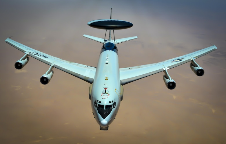 An E-3 Sentry prepares to receive fuel from a 340th Expeditionary Air Refueling Squadron KC-135 Stratotanker during a flight in support of Operation Inherent Resolve May 27, 2017. The E-3 Sentry is an airborne warning and control system aircraft with an integrated command and control battle management, surveillance, target detection, and tracking platform. (U.S. Air Force photo/Staff Sgt. Michael Battles)
