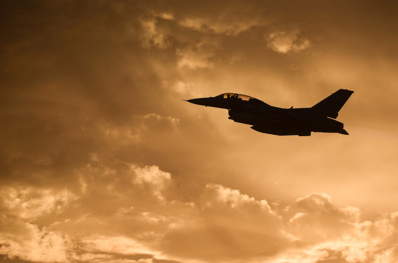 An F-16 Fighting Falcon from the 16th Weapons Squadron, Nellis Air Force Base, Nev., takes off during a U.S. Air Force Weapons School training exercise June 8, 2017. The F-16 is the current aircraft flown by the Thunderbirds, the U.S. Air Force Air Demonstration Squadron. (U.S. Air Force photo by Airman 1st Class Andrew D. Sarver)