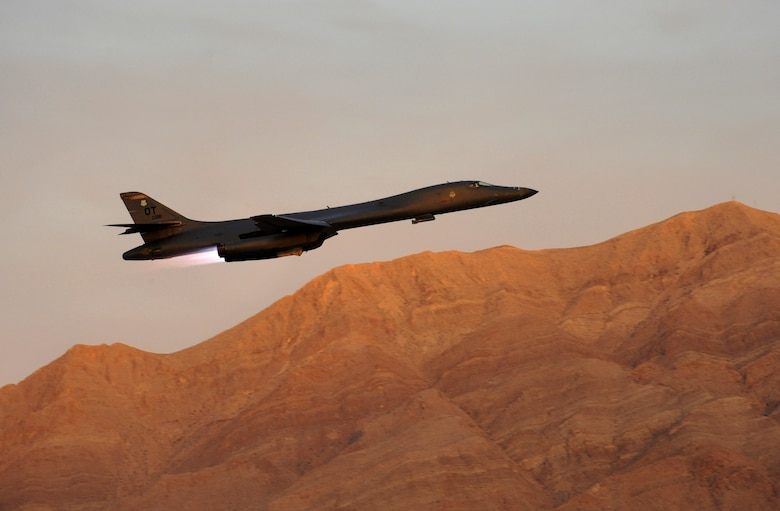 A B-1 Lancer strategic bomber takes off from Nellis Air Force Base, Nev., during a training mission supporting the Weapons Instructor Course, June 8, 2017. (U.S. Air National Guard photo by Master Sgt. John Hughel)