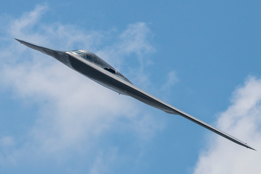 A 509th Bomb Wing B-2 Spirit conducts a fly-by during the Scott Air Force Base 2017 air show and open house June 11, 2017, which celebrates the base's 100th anniversary. The B-2 is a multi-role bomber capable of delivering both conventional and nuclear munitions and represents a major milestone in the bomber modernization program. With a crew of two pilots, this aircraft brings a massive firepower to bear, in a short time, anywhere on the globe through impenetrable defenses. (U.S. Air Force photo by Senior Airman Tristin English)