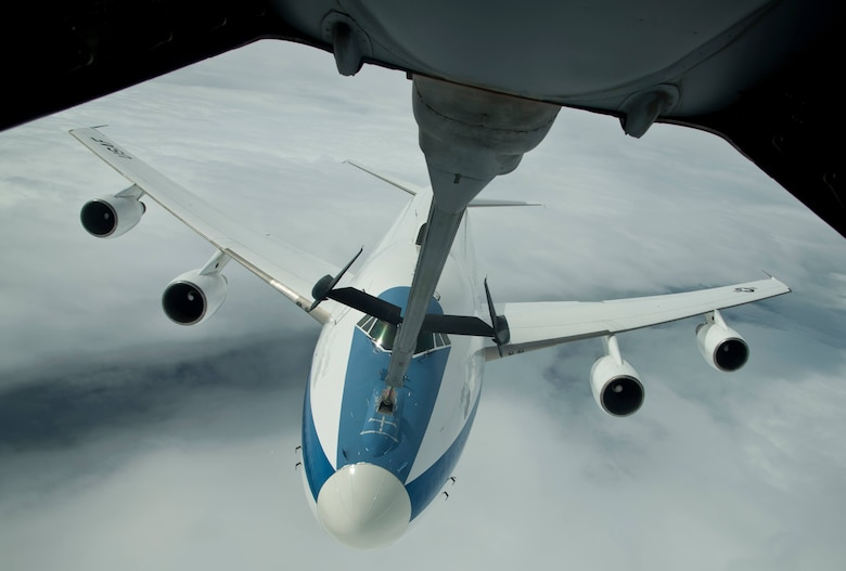 An E-4B from Global Strike Command, Barksdale Air Force Base, La., is refueled by a KC-10 Extender from Travis AFB, Calif., during a local mission June 12, 2017. In case of national emergency or destruction of ground command and control centers, the E-4B provides a highly survivable command, control and communications center to direct U.S. forces, execute emergency war orders and coordinate actions by civil authorities. (U.S. Air Force photo by Staff Sgt. Nicole Leidholm)