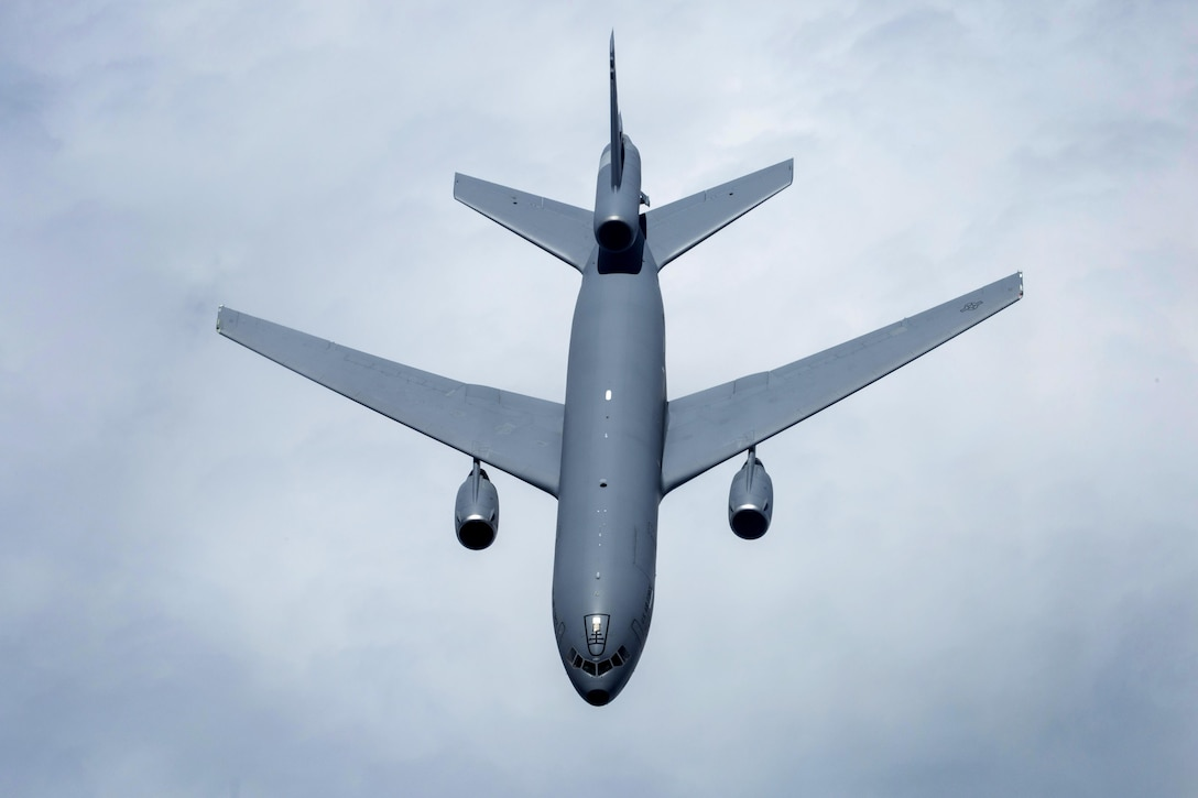 A U.S. Air Force KC-10 Extender crewed by members of the 78th Air Refueling Squadron, 514th Air Mobility Wing, flies over the Atlantic Ocean July 15, 2017. The KC-10 is an Air Mobility Command advanced tanker and cargo aircraft designed to provide increased global mobility for U.S. Armed Forces and is assigned to the 305th Air Mobility Wing and is maintained and flown by the 514th Air Mobility Wing, Air Force Reserve Command and the 305th. Both units are located at Joint Base McGuire-Dix-Lakehurst, N.J. (U.S. Air Force photo by Master Sgt. Mark C. Olsen/Released)