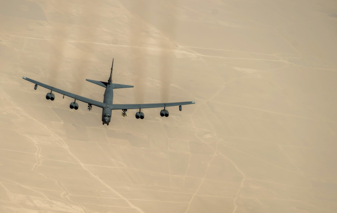 A U.S. Air Force B-52 Stratofortress approaches a 340th Expeditionary Air Refueling Squadron KC-135 Stratotanker during a flight in support of Operation Inherent Resolve, July 18, 2017. The B-52 is a long-range, heavy bomber capable of flying at altitudes up to 50,000 feet. (U.S. Air Force photo by Staff Sgt. Trevor T. McBride)