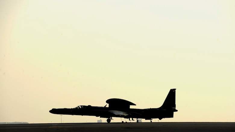 Capt. Jon, a U-2 Dragon Lady pilot lands on the runway during his final flight with the 380th Air Expeditionary Wing at Al Dhafra Air Base, United Arab Emirates, Oct. 12, 2017. The U-2 brings versatile high altitude intelligence, surveillance and reconnaissance capabilities to Combined Joint Task Force- Operation Inherent Resolve. (U.S. Air Force photo by Tech. Sgt. Anthony Nelson Jr)