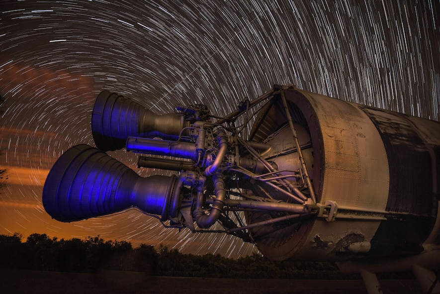 The park on Cape Canaveral, Fla., showcases several pieces of equipment that were monumental to the development of Air Force Space Command. Here, 216 photos captured over a 90 minute period are layered over one another, making the star trails come to life. (U.S. Air Force photo illustration by Tech. Sgt. David Salanitri)