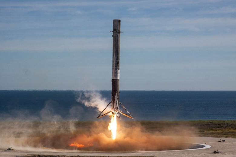 "A SpaceX ""flight proven"" first stage booster successfully lands on Landing Zone 1, Cape Canaveral Air Force Station, Fla., Dec. 15, 2017. The 45th Space Wing supported SpaceX's successful launch of NASA's Commercial Resupply Mission 13 aboard a Falcon 9 rocket. (Courtesy photo by SpaceX)"