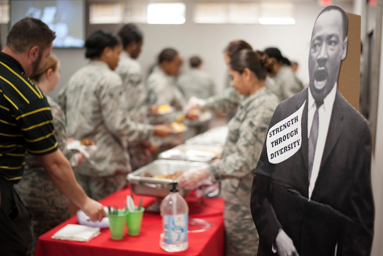 A cardboard cutout of Dr. Martin Luther King (MLK) Jr. stands on display at an MLK observance luncheon at MacDill Air Force Base, Fla., Jan. 11, 2018.