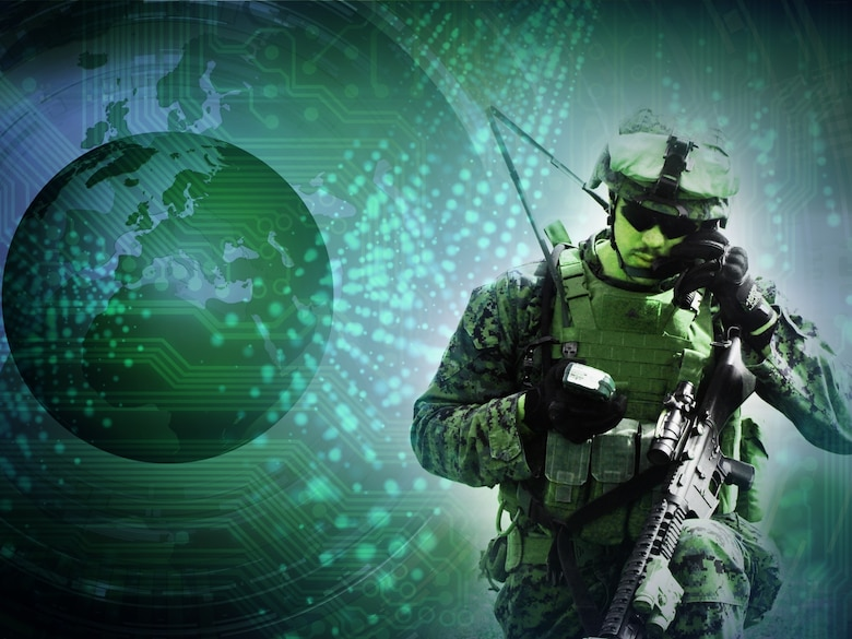 Air Force Life Cycle Management Center, Hanscom Air Force Base, Mass., is studying how cloud computing could safely provide data to users who need it, even in degraded environments, like those encountered by ground troops in combat. (Department of Defense graphic illustration)