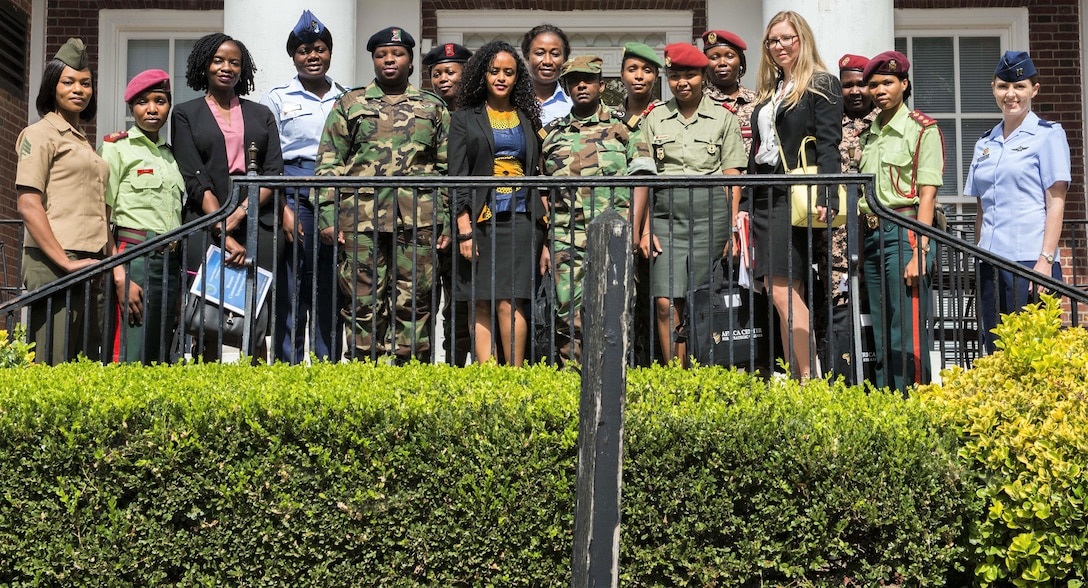 Participants in U.S. Africa Command's Women, Peace and Security forum for female military leaders from seven African nations pose for a photo at National Defense University in Washington.