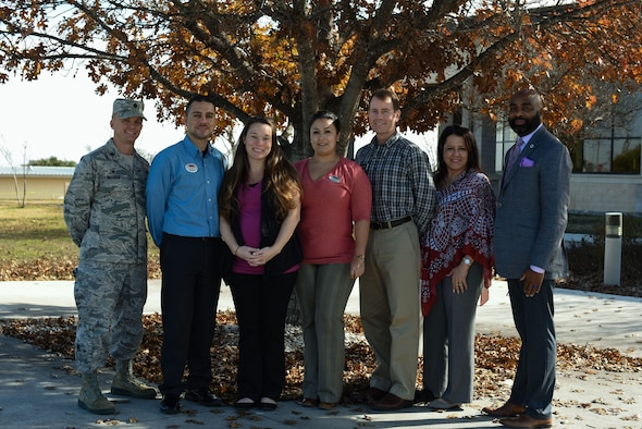 Organizers, mentors and supporters for the 47th Medical Operations Squadron's family advocacy program gather at the Losano Fitness Center at Laughlin Air Force Base, Texas, Jan. 10, 2017. The family advocacy program offers courses designed to manage any types of stress, to channeling emotions of anger into happiness, or to help expecting or current parents gather more ideas to further ensure their children's success, the classes are designed to help make life both easier and more fruitful.