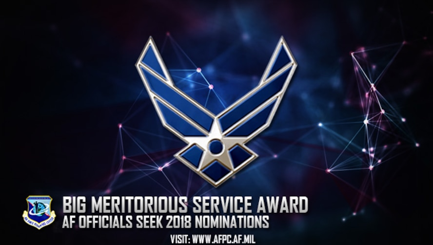 Air Force officials are currently accepting nominations for the 2018 National Blacks in Government Meritorious Service Award. Nominations are due to the Air Force's Personnel Center by April 13. (U.S. Air Force graphic by Staff Sgt. Alexx Pons)