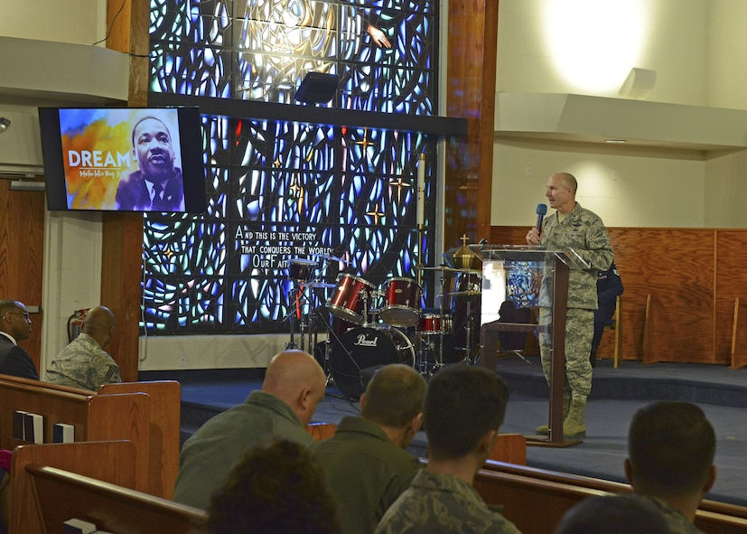 Brig. Gen. Carl Schaefer, 412th Test Wing commander, gives closing remarks at Chapel 1 to conclude Team Edwards' celebration of Dr. Martin Luther King's legacy Jan. 11. (U.S. Air Force photo by Kenji Thuloweit)