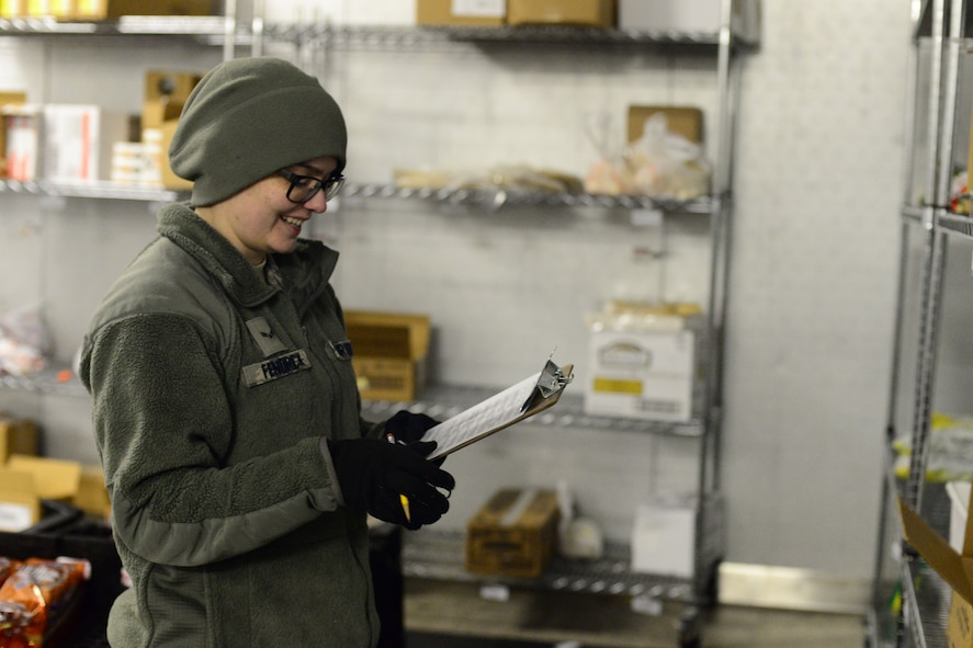 Airman 1st Class Shae Fendrick, 341st Force Support Squadron accountant and store clerk, checks freezer item inventory Jan. 12, 2018, at Malmstrom Air Force Base, Mont.