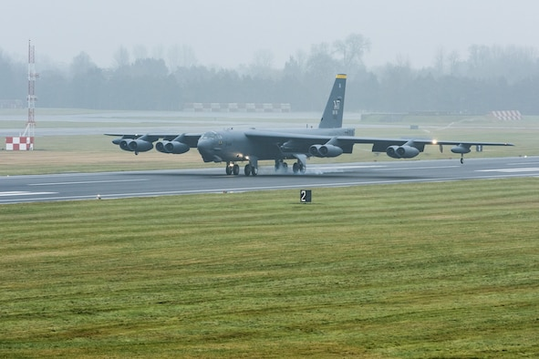A B-52H Stratofortress assigned to Air Force Global Strike Command touches down at RAF Fairford, England, Jan. 9, 2018. The deployment of strategic bombers to RAF Fairford helps exercise the base as United States Air Forces in Europe's forward operating location for bombers. (U.S. Air Force photo by Senior Airman J.T. Armstrong)
