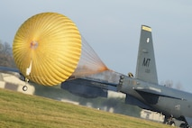 A B-52H Stratofortress assigned to Air Force Global Strike Command deploys its drauge parachute at RAF Fairford, England, Jan. 10, 2018. The deployment of strategic bombers to RAF Fairford helps exercise the base as United States Air Forces in Europe's forward operating location for bombers. (U.S. Air Force photo by Senior Airman J.T. Armstrong)