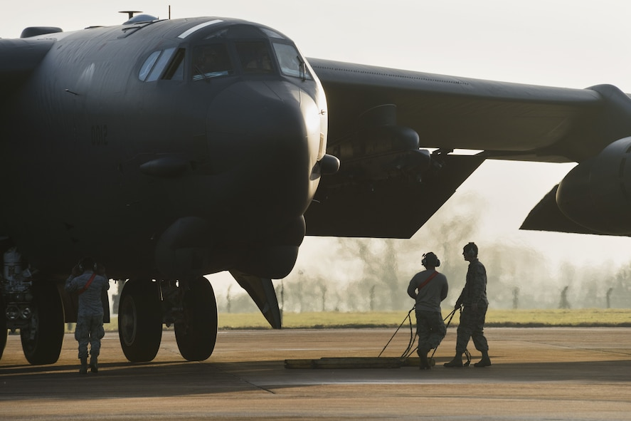 A B-52H Stratofortress assigned to Air Force Global Strike Command parks at RAF Fairford, England, Jan. 10, 2018. Aircraft, Airmen and support equipment from the 5th Bomb Wing, Minot Air Force Base, N.D., deployed to RAF Fairford, to conduct theater integration and flying training. (U.S. Air Force photo by Senior Airman J.T. Armstrong)