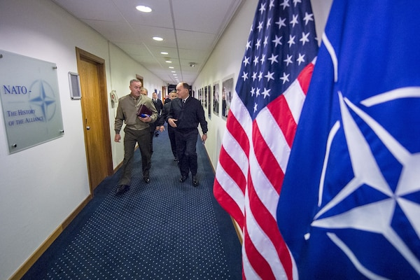 Marine Corps Gen. Joe Dunford, chairman of the Joint Chiefs of Staff, walks at NATO headquarters in Brussels, Jan. 15, 2018, where he will attend the 178th Military Committee chiefs of defense meeting. DoD photo by Navy Petty Officer 1st Class Dominique A. Pineiro