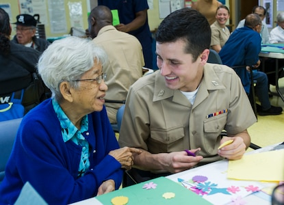 USS America visits adult day care