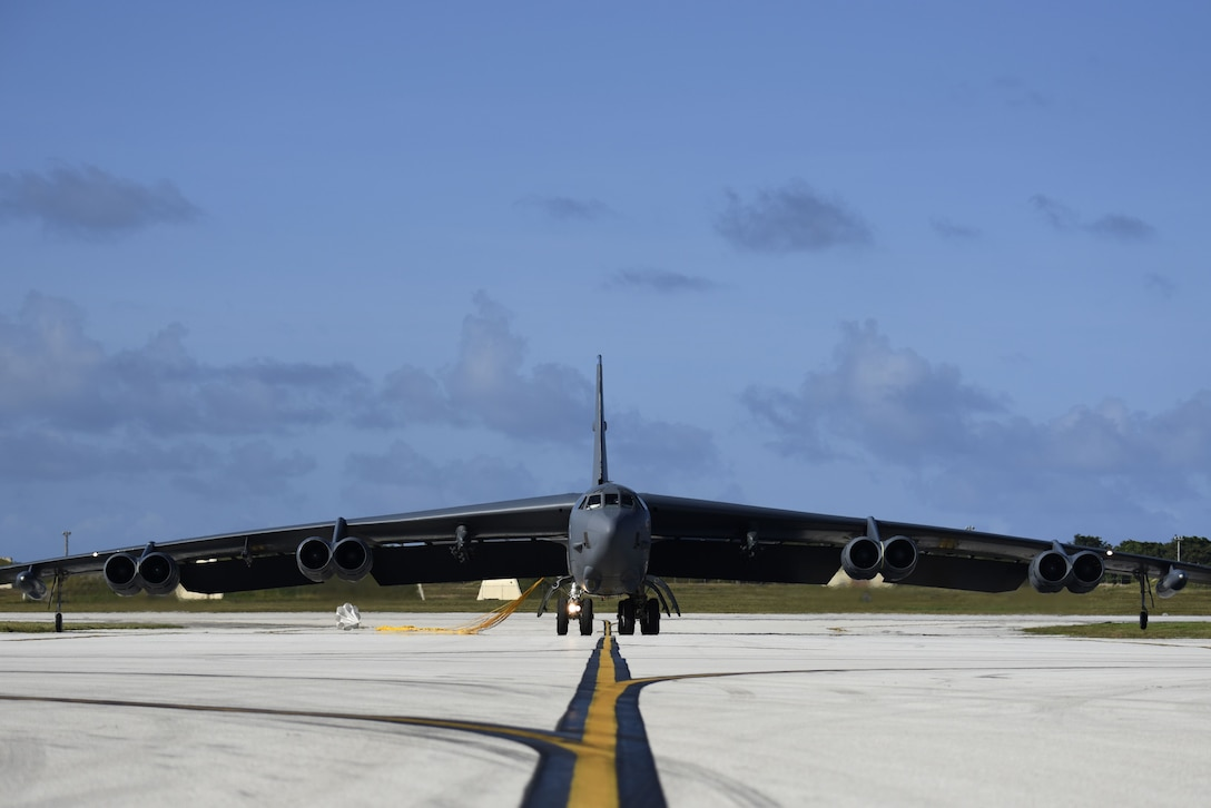 A U.S. Air Force B-52H Stratofortress bomber taxis after landing at Andersen Air Force Base (AFB), Guam, Jan. 16, 2018.