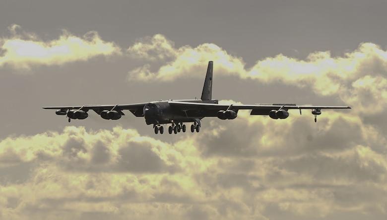 A U.S. Air Force B-52 Stratofortress bomber lands at Andersen Air Force Base, Guam, Jan. 16, 2018.