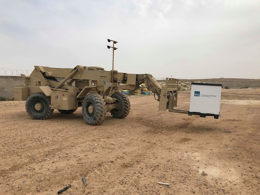 Task Force Spartan Soldiers work to palletize non-mission essential property across the Arabian Gulf and the Levant. The excess equipment and supplies will soon be sent to a retrograde sort yard for processing.