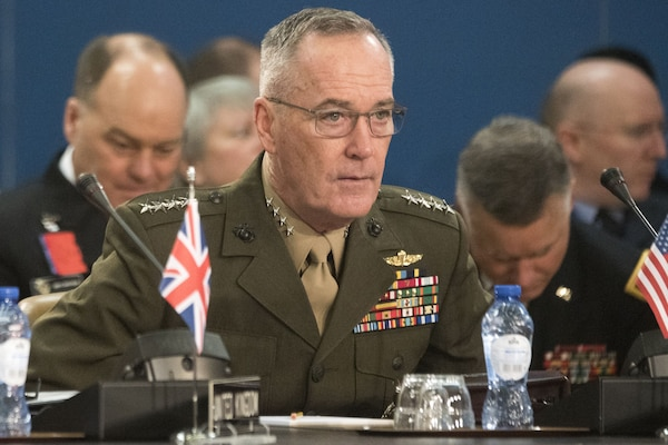 Marine Corps Gen. Joe Dunford, chairman of the Joint Chiefs of Staff, attends a NATO Military Committee meeting in Brussels, Jan. 16th, 2018. DoD photo by Navy Petty Officer 1st Class Dominique A. Pineiro