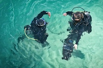 180108-N-XE158-0108 Mohammed Al-Ahmad Naval Base, KUWAIT (Jan. 8, 2018) Explosive Ordnance Disposal Technician 3rd Class Carolyn Willeford, right, assigned to Commander, Task Group 56.1, performs in-water checks during a scuba dive with a Kuwait Naval Force explosive ordnance disposal technician during a training evolution as part of exercise Eager Response 18. Eager Response 18 is a bilateral explosive ordnance disposal military exercise between the State of Kuwait and the United States. The exercise fortifies military-to-military relationships between the Kuwait Naval Force and U.S. Navy, advances the operational capabilities of Kuwaiti and U.S. forces to operate in the maritime domain, and enhances interoperability and warfighting readiness. (U.S. Navy photo by Mass Communication Specialist 1st Class Louis Rojas/Released)