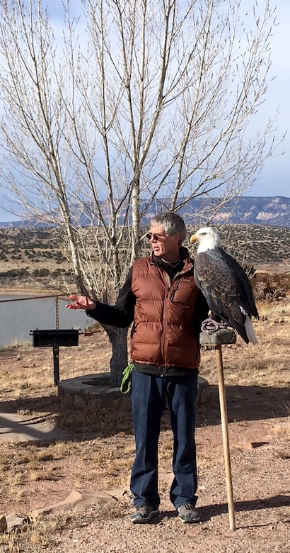 The Wildlife Center presented their captive bald eagle Maxwell to the volunteers who came out to count eagles at Abiquiu Lake, Jan. 6, 2018. They used Maxwell to highlight some of the distinguishing characteristics between golden eagles, and mature and immature bald eagles.