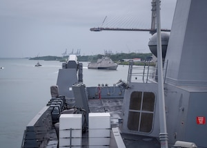 Image from the deck of USS Portland transiting the Panama Canal.