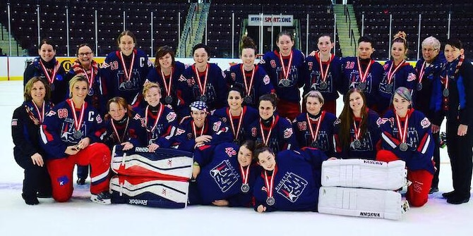 ONTARIO, Canada -- Team USA, which consists of 19 players, won silver at the World Ringette Championship in Mississauga, Ontario, Canada, where they competed with five teams from around the world Nov. 27 to Dec. 3. The USA team played six games and took second place losing 6-5 in the final to Team Sweden. (Courtesy photo)