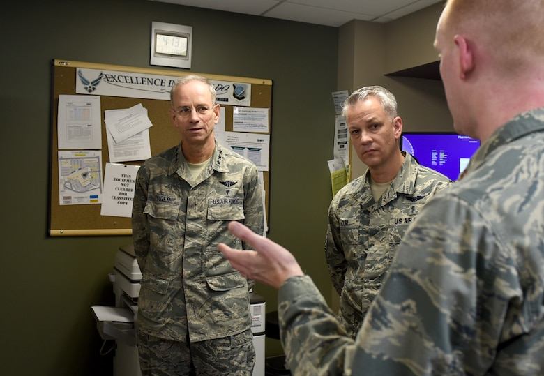 Lt. Gen. Mark Ediger, U.S. Air Force Surgeon General, speaks with 92nd Medical Group Airmen during his visit to Fairchild Air Force Base, Washington, Jan. 11, 2018. The Airmen discussed their experiences with integration of the Military Health System GENISIS program, the new Department of Defense electronic healthcare record system. (U.S. Air Force photo/Airman Whitney Laine)