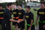 Secretary of the Army Mark Esper greets Soldiers from the 3rd Infantry Brigade Combat Teams, 25th Infantry Division Soldiers after physical readiness training on Jan. 11 at Schofield Barracks, Hawaii.