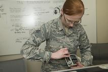 U.S. Air Force Senior Airman Selina Chavez, 20th Aerospace Medicine Squadron bioenvironmental journeyman, prepares an ADM-300 multi-functional survey meter for calibration at Shaw Air Force Base, S.C., Jan. 12, 2018.