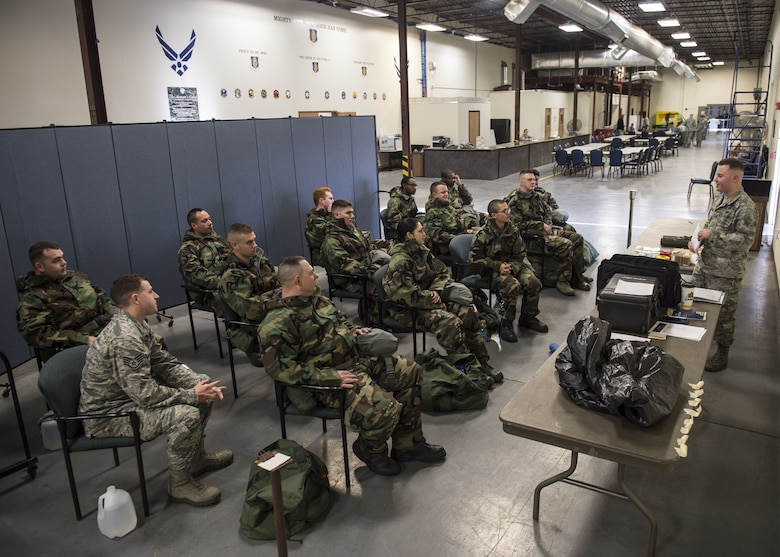 U.S. Air Force Airmen assigned to Altus Air Force Base, Okla., go through a chemical, biological, radiological and nuclear defense (CBRN) class, Jan. 10, 2018, at Altus AFB.