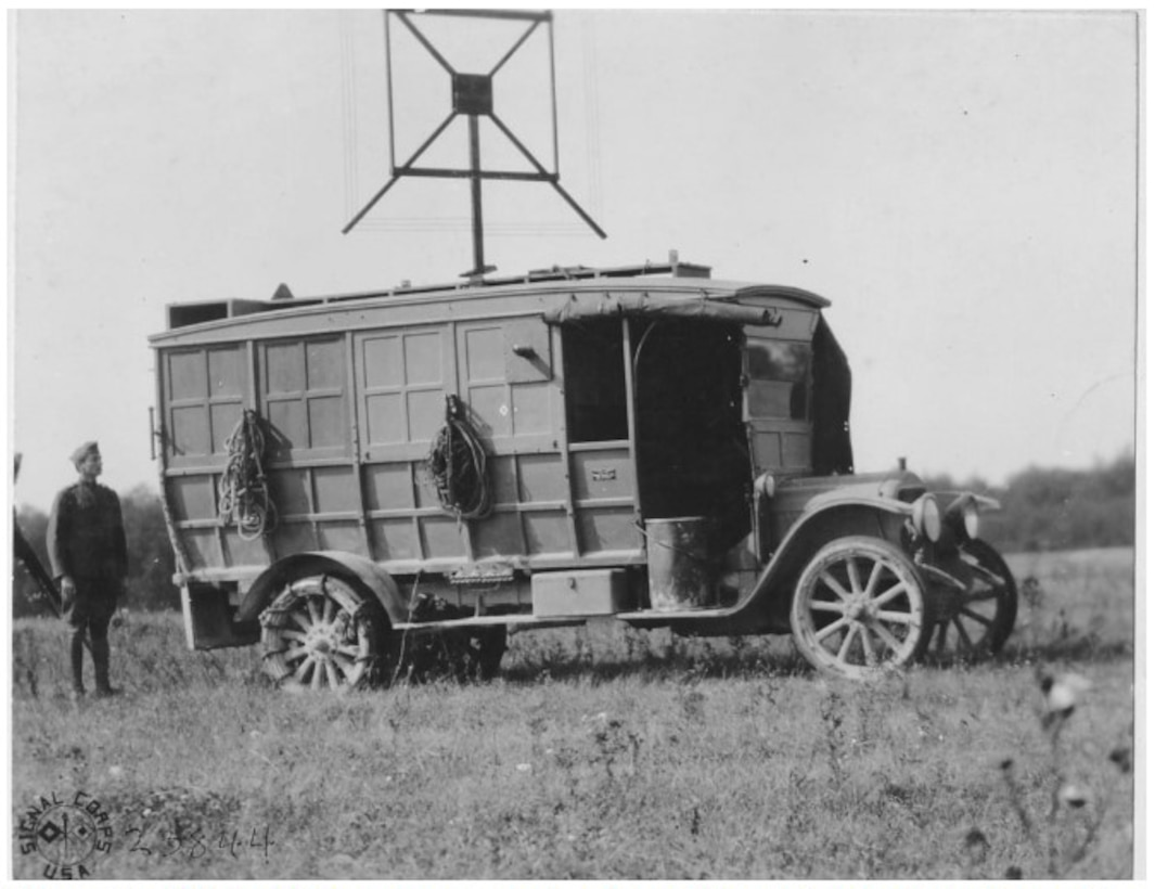 This photograph shows a mobile radio goniometric tractor near Verdun.  These vehicles conducted radio direction finding against enemy radio transmissions.