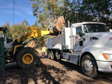 The U.S. Army Corps of Engineers Los Angeles District is removing debris from channels and basins to restore capacity and reduce the risk of flooding to homes and businesses. Cold Springs Basin debris removal Jan. 12.