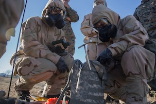 Marines hone skills during reconnaissance, surveillance and decontamination training on Camp Pendleton, Calif., Jan. 11, 2018. The course prepares Marines to operate in hazardous areas through familiarization of Mission Oriented Protective Posture gear and other equipment employed during combat chemical attacks. Marine Corps photos by Pfc. Timothy Shoemaker