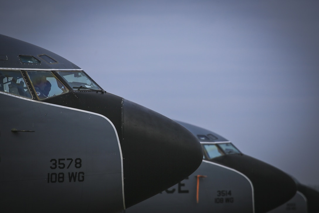 A New Jersey Air National Guard  KC-135R Stratotanker crew from the 108th Wing prepares their aircraft for a training flight on Joint Base McGuire-Dix-Lakehurst, N.J., Jan. 11, 2018. (U.S. Air National Guard photo by Master Sgt. Matt Hecht)