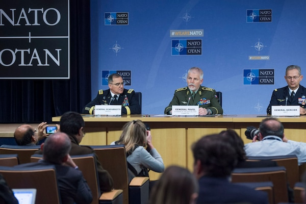 Czech Gen. Petr Pavel, center, the chairman of NATO's Military Committee, responds to a question during a news conference at NATO headquarters in Brussels after a meeting of the alliance's Military Committee, Jan, 17, 2018. He is flanked by U.S. Army Gen. Curtis M. Scaparrotti, the supreme allied commander for Europe, left, and Gen. Denis Mercier of the French air force, supreme allied commander for transformation. NATO photo