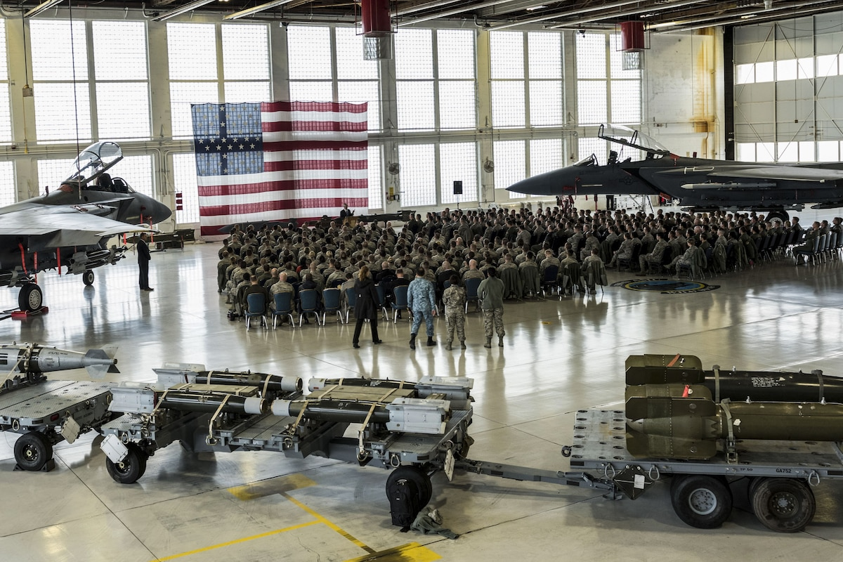 Defense Secretary James N. Mattis speaks to airmen at Mountain Home Air Force Base.
