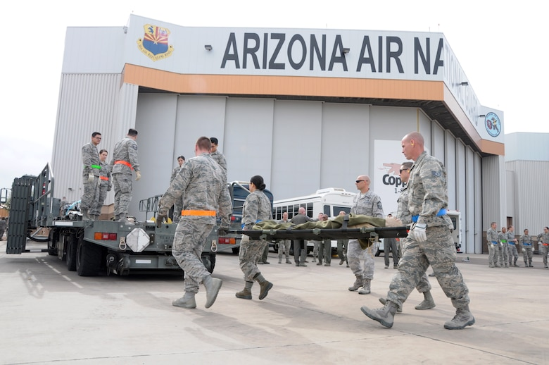 Reserve Citizen Airmen with the 944th Aeromedical Staging Squadron worked with Arizona Air National Guard Airmen assigned to the 161st ARW to conduct the exercise.