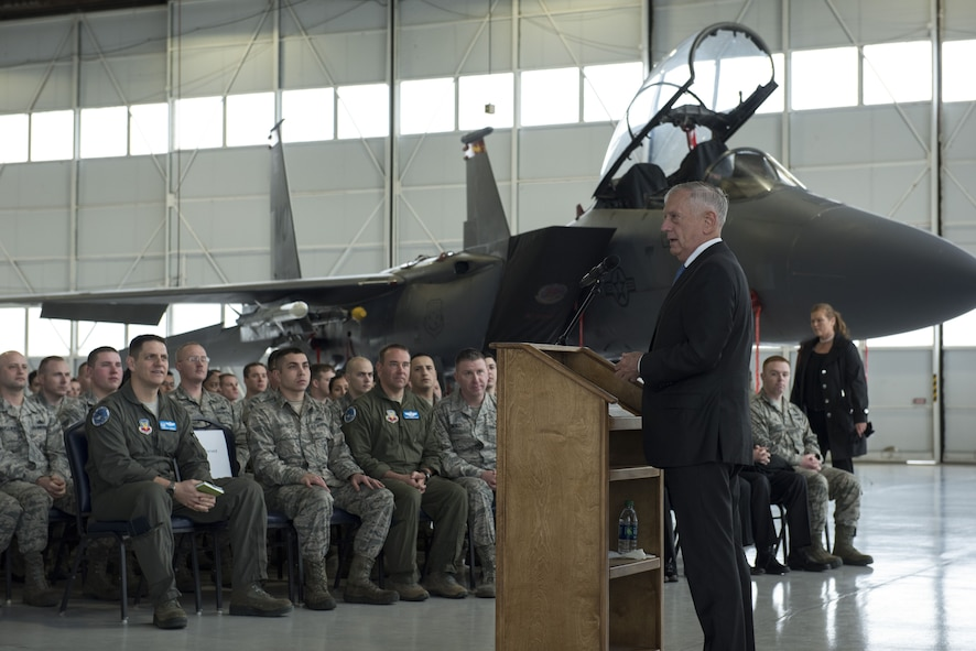 Defense Secretary James N. Mattis speaks with Airmen during a town hall at Mountain Home Air Force Base, Idaho, Jan. 16, 2018. Mattis' visit included a meeting with base leadership and a town hall where he answered Airmen's questions.