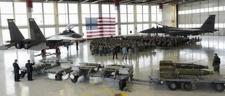 Defense Secretary James N. Mattis speaks to 366th Fighter Wing Airmen Jan. 16, 2018, at Mountain Home Air Force Base, Idaho. Airmen were given the opportunity to ask Mattis questions on various topics during a town hall.
